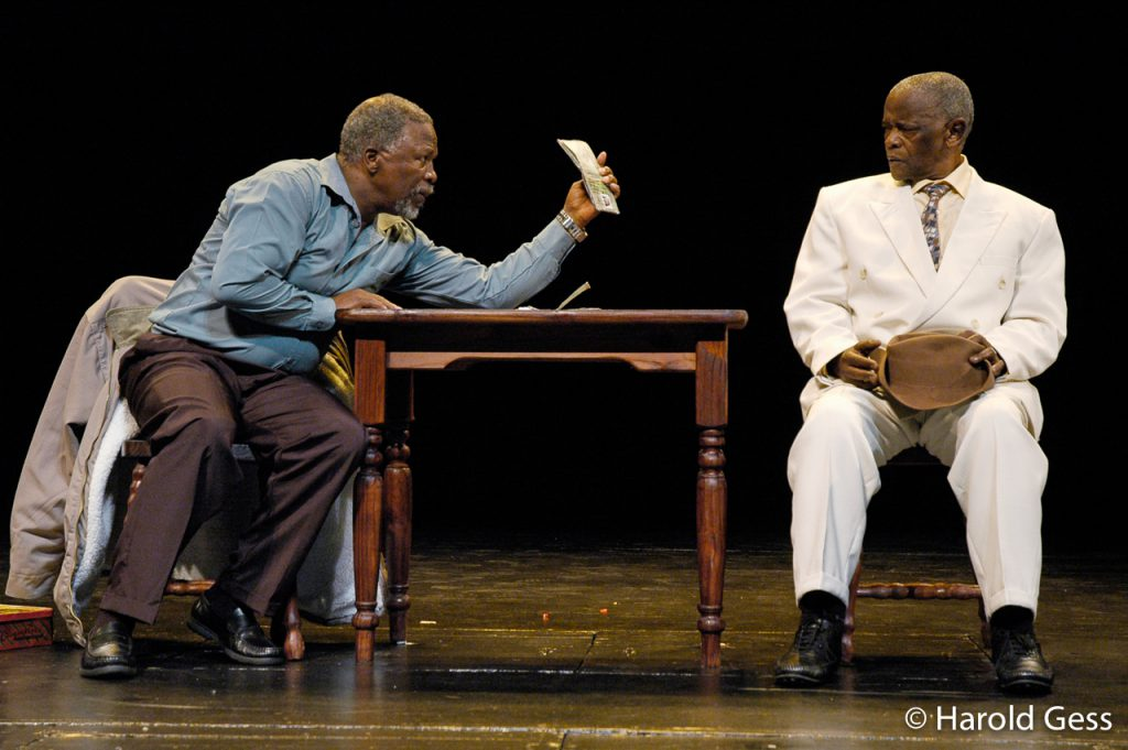 John Kani (left) and Winston Ntshona in the Baxter Theatre Centre production of Sizwe Banzi is Dead, 2006.
