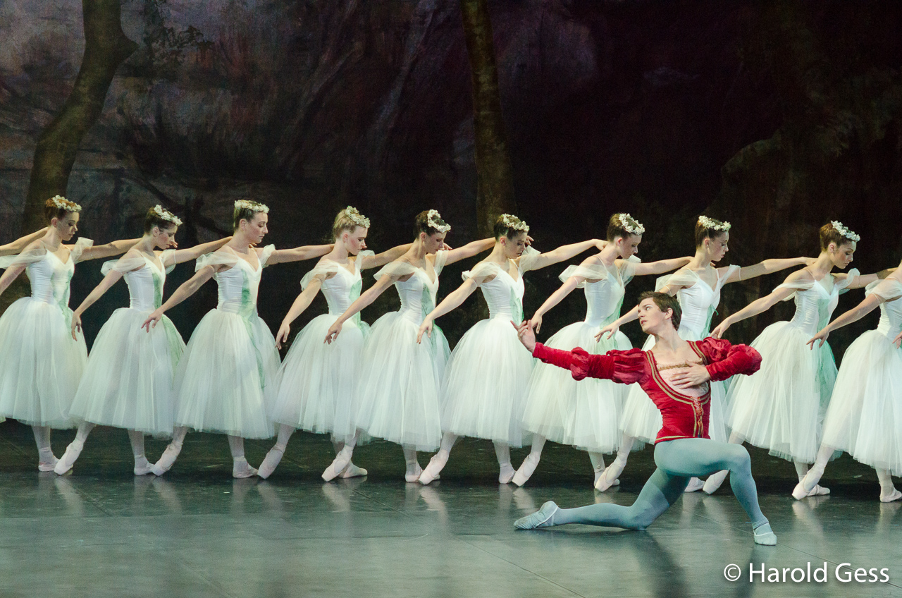 Daniel Szybkowski as Albrecht together with members of the corps de ballet of the Cape Town City Ballet production of Giselle, at the National Arts Festival, Grahamstown, 2012.