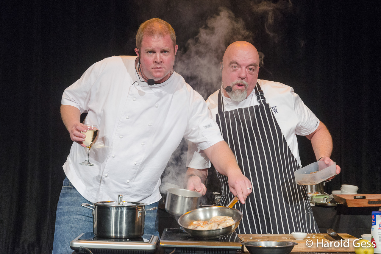 Chris Forrest and Pete Goffe-Wood in the cooking comedy, Don't Burn Your Sausage, at the National Arts Festival, Grahamstown, 2015.