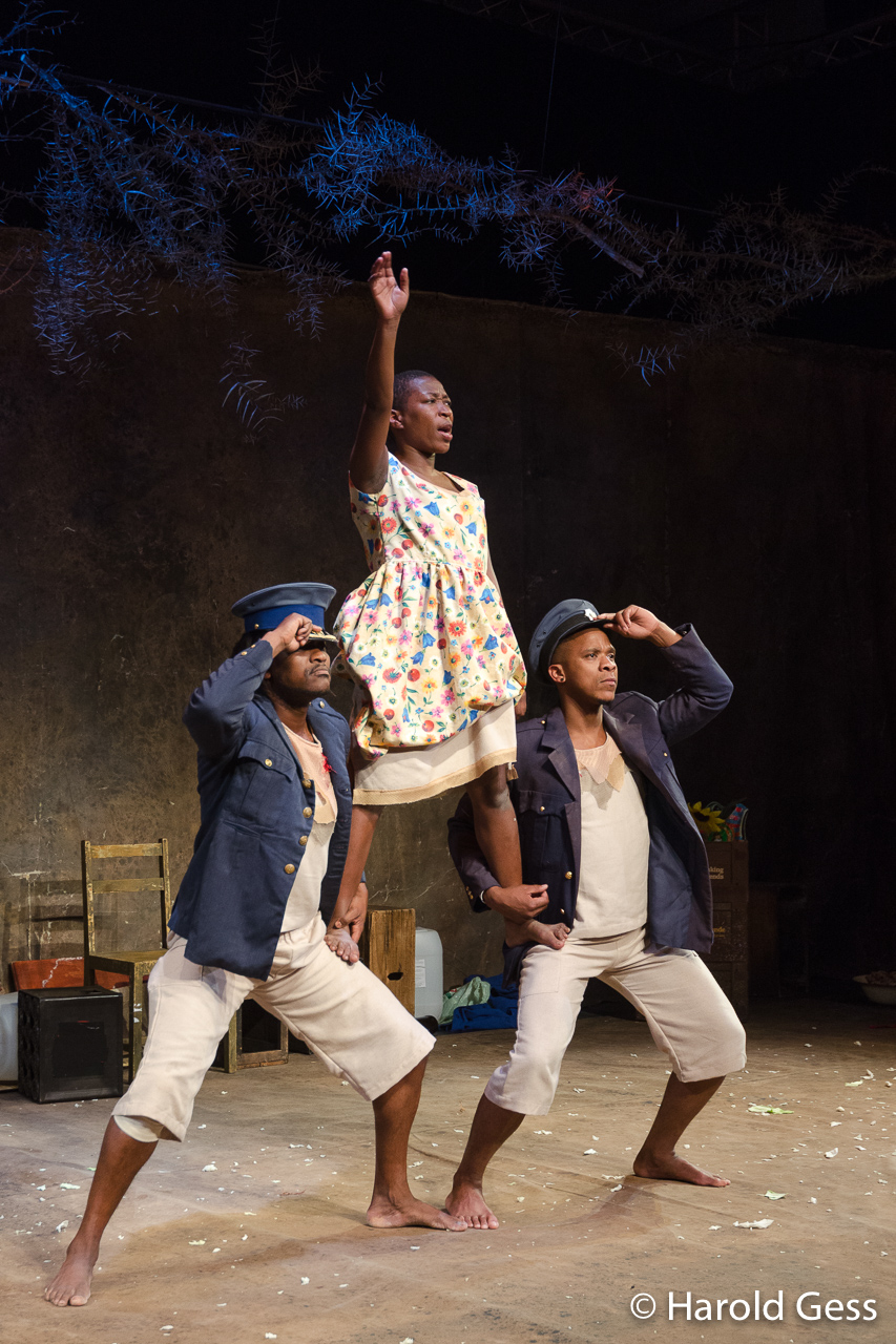 Mdu Kweyama, Chuma Sopotela and Bongile Mantsai perform in a scene from Karoo Moose, written and directed by Lara Foot, at the National Arts Festival, Grahamstown, South Africa, 2016.